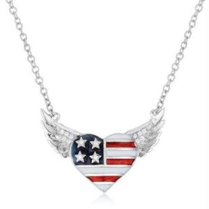 NEW Women's .14 Ct Patriotic Winged Heart Necklace